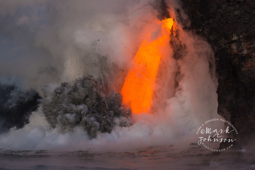 Spectacular lava flow into the ocean at Kamokuna, Big Island, Hawaii