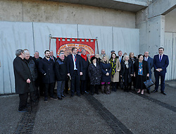 Pictured: Friends and supporters at the wreath laying.<br /> <br /> Labour MSP's and National Union of Mineworkers (NUM) campaigners laid wreaths and held a short vigil outside the Scottish Parliament. Speakers included Scottish Labour leader Richard Leonard, NUM president Nicky Wilson and Mick's son, Michael MxGahey.<br /> <br /> &copy; Dave Johnston / EEm