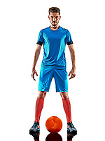 one caucasian youg soccer player man standing in studio isolated on white background