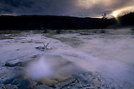 Mustard Spring at sunset, Biscuit Basin, Yellowstone Nat'l. Park, WYOMING