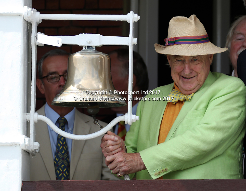 Broadcaster Henry Blofeld rings the 'five minute bell' with gusto during the 1st Investec Test Match between England and South Africa at Lord's Cricket Ground. Photo: Graham Morris/www.cricketpix.com / www.photosport.nz