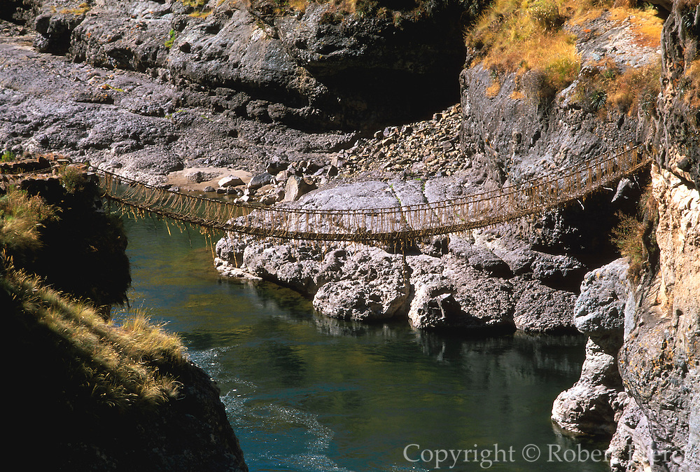 PERU, ALTIPLANO, INCA ROAD Inca bridge over Apurimac River