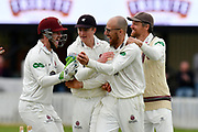 Somerset celebrate the Win -  Steve Davies, Tom Abell, Jack Leach and James Hildreth of Somerset celebrate the run out of Steve Magoffin of Worcestershire to win the match during the Specsavers County Champ Div 1 match between Somerset County Cricket Club and Worcestershire County Cricket Club at the Cooper Associates County Ground, Taunton, United Kingdom on 22 April 2018. Picture by Graham Hunt.