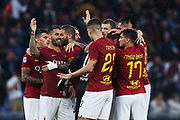 Players of AS Roma celebrates at the ond of the Italian championship Serie A football match between AS Roma and SSC Napoli at the Olympic Stadium, Saturday, Nov. 2, 2019, in Rome. Roma defeated Napoli 2-1.(Federico Proietti/Image of Sport)