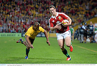22 June 2013; George North, British & Irish Lions, on his way to scoring his side's first try despite Will Genia, Australia. British & Irish Lions Tour 2013, 1st Test, Australia v British & Irish Lions, Suncorp Stadium, Brisbane, Queensland, Australia. Picture credit: Stephen McCarthy / SPORTSFILE