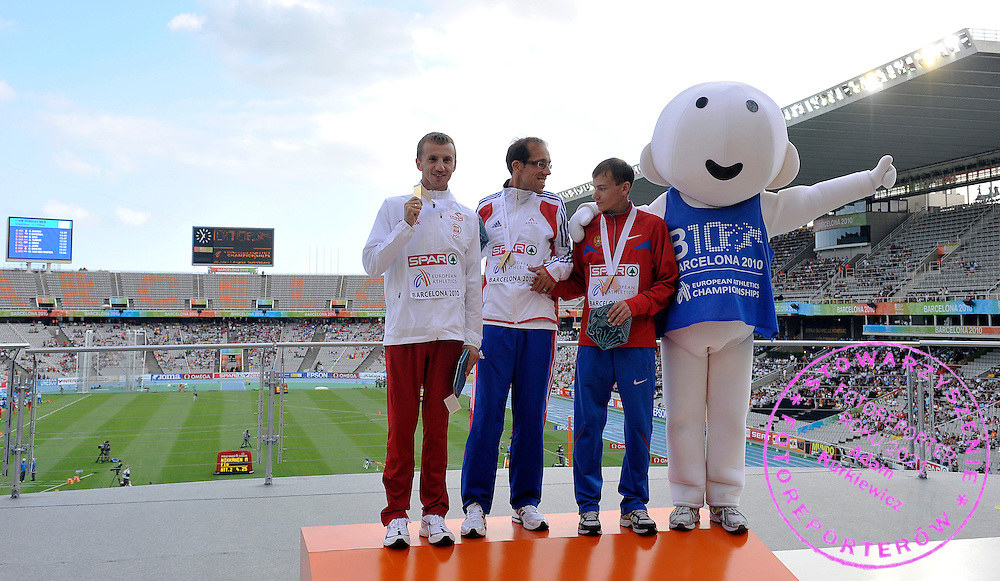 (L) GRZEGORZ SUDOL (POLAND) - SILVER & (C) YOHANN DENITZ (FRANCE) - GOLD & (R) SERGEY BAKULIN (RUSSIA) - BRONZE POSE WHILE VICTORY CEREMONY DURING THE 2010 EUROPEAN ATHLETICS CHAMPIONSHIPS AT OLYMPIC STADIUM IN BARCELONA, SPAIN...SPAIN , BARCELONA , JULY 30, 2010..( PHOTO BY ADAM NURKIEWICZ / MEDIASPORT )..PICTURE ALSO AVAIBLE IN RAW OR TIFF FORMAT ON SPECIAL REQUEST.