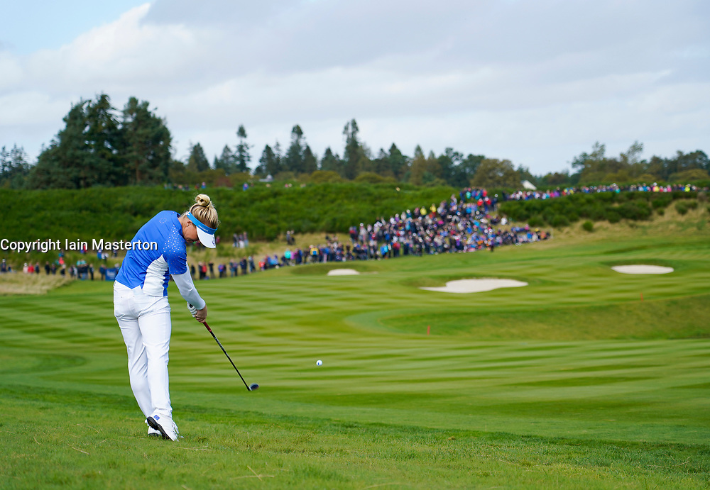 Auchterarder, Scotland, UK. 15 September 2019. Sunday Singles matches on final day  at 2019 Solheim Cup on Centenary Course at Gleneagles. Pictured; Charley Hull approach shot to 8th green. Iain Masterton/Alamy Live News