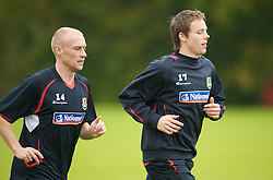 CARDIFF, WALES - Monday, October 13, 2008: Wales' Chris Gunter and David Cotterill during training at the Vale of Glamorgan Hotel ahead of the 2010 FIFA World Cup South Africa Qualifying Group 4 match against Germany. (Photo by David Rawcliffe/Propaganda)