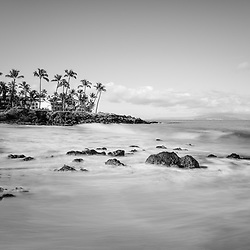 Ulua Beach black and white photo in Wailea Makena Maui Hawaii with Kaho'olawe Island Reserve. Copyright ⓒ 2019 Paul Velgos with All Rights Reserved.