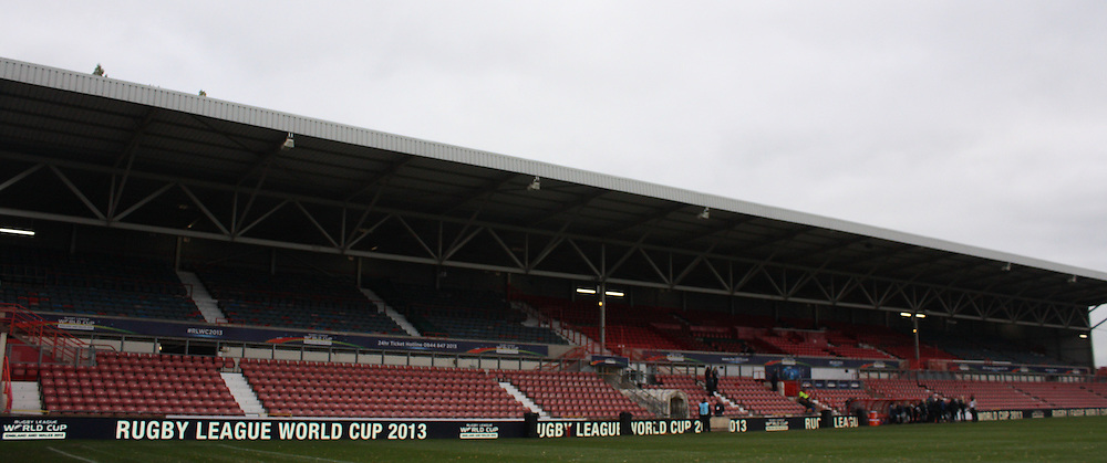 Picture by Stephen Gaunt/Focus Images Ltd +447904 833202<br /> 16/11/2013<br /> General Stadium views of the Racecourse Ground, ahead of Australia v  USA during the Rugby League World Cup 2013 match at Racecourse Ground, Wrexham.