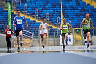 Chorzow, Poland - 2018 June 10: Special Olympics Athlete (C) Tomasz Warzycki runs in men's 200m heat while athtletics competition during National Special Olympics Games 2018 at Slaski Stadium on June 10, 2018 in Chorzow, Poland.<br /> <br /> Adam Nurkiewicz declares that he has no rights to the image of people at the photographs of his authorship.<br /> <br /> Picture also available in RAW (NEF) or TIFF format on special request.<br /> <br /> Any editorial, commercial or promotional use requires written permission from the author of image.<br /> <br /> Image can be used in the press when the method of use and the signature does not hurt people on the picture.<br /> <br /> Mandatory credit:<br /> Photo by © Adam Nurkiewicz / Mediasport