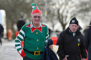 A Plymouth Argyle fan outside Home Park Stadium wearing a Christmas Elf costume before the EFL Sky Bet League 1 match between Plymouth Argyle and Accrington Stanley at Home Park, Plymouth, England on 22 December 2018.
