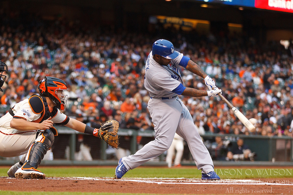 SAN FRANCISCO, CA - MAY 20:  Howie Kendrick #47 of the Los Angeles Dodgers hits a single against the San Francisco Giants during the first inning at AT&T Park on May 20, 2015 in San Francisco, California.  (Photo by Jason O. Watson/Getty Images) *** Local Caption *** Howie Kendrick