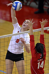 15 SEP 2009: Katie Culbertson returns the ball against defender Jessica Hermann. The Redbirds of Illinois State defeated the Cougars of Southern Illinois Edwardsville in 3 sets during play in the Redbird Classic on Doug Collins Court inside Redbird Arena in Normal Illinois