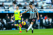 Miguel Almiron (#24) of Newcastle United shoots and hits the woodwork during the Premier League match between Newcastle United and Huddersfield Town at St. James's Park, Newcastle, England on 23 February 2019.