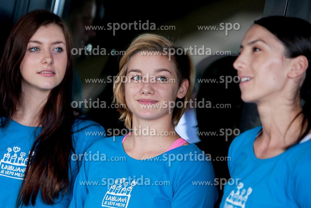 Nina Zulic, Ursa Urbancic and Mirjeta Barjamoska during practice session of RK Krim Mercator on August 6, 2014 in SRC Stozice, Ljubljana, Slovenia. Photo by Urban Urbanc / Sportida