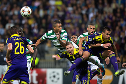 Maurício of Sporting vs Dare Vrsic of Maribor and Soares Bordignon Arghus of Maribor during football match between NK Maribor and Sporting Lisbon (POR) in Group G of Group Stage of UEFA Champions League 2014/15, on September 17, 2014 in Stadium Ljudski vrt, Maribor, Slovenia. Photo by Matic Klansek Velej  / Sportida.com