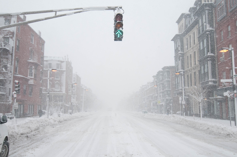 Tremont Street in Boston's South End during a snow storm.