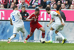 29.03.2014, Allianz Arena, Muenchen, GER, 1. FBL, FC Bayern Muenchen vs TSG 1899 Hoffenheim, 28. Runde, im Bild l-r: im Zweikampf, Aktion, mit Eugen Polanski #8 (TSG 1899 Hoffenheim), Franck Ribery #7 (FC Bayern Muenchen) und Fabian Johnson #16 (TSG 1899 Hoffenheim) // during the German Bundesliga 28th round match between FC Bayern Munich and TSG 1899 Hoffenheim at the Allianz Arena in Muenchen, Germany on 2014/03/29. EXPA Pictures © 2014, PhotoCredit: EXPA/ Eibner-Pressefoto/ Kolbert<br /> <br /> *****ATTENTION - OUT of GER*****