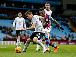 Seamus Coleman of Everton is challenged by Jordan Ayew of Aston Villa - Mandatory byline: Rogan Thomson/JMP - 01/03/2016 - FOOTBALL - Villa Park Stadium - Birmingham, England - Aston Villa v Everton - Barclays Premier League.