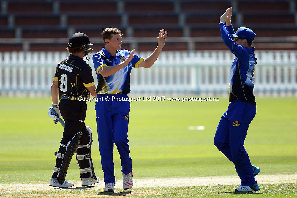 Otago Volts players celebrate a wicket during the Ford Trophy 2017 - Wellington Firebirds vs Otago Volts 04-February-2017, Basin Reserve, Saturday 04th February 2017. Copyright Photo: Raghavan Venugopal / www.photosport.nz