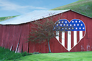 Patriotic barn in Washington state.