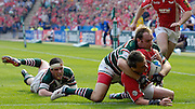 Leicester,  Great Britain,  Andy GOODE attempt's to hold up Matt REES try, Shane JENNINGS stranded behind,  during the Heineken Cup Semi Final, Leicester Tigers vs Llanelli Scarlets played at the Walker Stadium, on Sat. 21.04.2007. [Photo Peter Spurrier/Intersport Images]