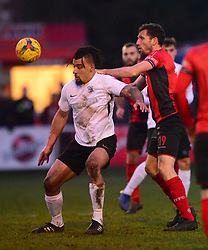 ADAM MURRAY ROYSTON TOWN BATTLES WITH KETTERING CRAIG STANLEY, Kettering Town v Royston Town Evostik Southern Premier League, Latimer Park Saturday 19th January 2019<br /> Score 1-0