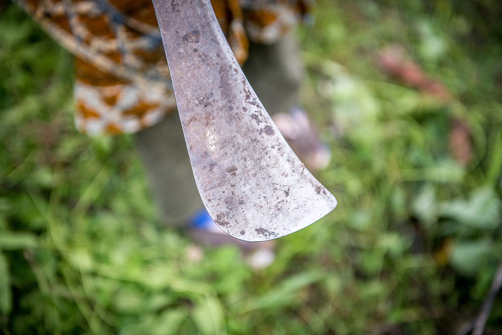 Close up of a machete on a farm in Ganta, Liberia