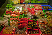 Various types of fish are displayed for sale at the LongShan night market in Teipei, Taiwan.