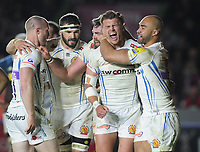 Rugby Union - 2016 / 2017 Aviva Premiership - Harlequins vs. Exeter<br /> <br /> Henry Slade of Exeter celebrates his try with team mates at The Stoop.<br /> <br /> COLORSPORT/ANDREW COWIE