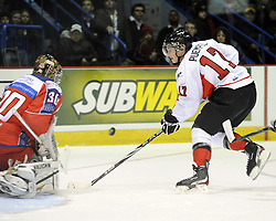 Matt Puempel helped Team OHL to a 2-1 shootout win over Russia in Game 4 of the SUBWAY Super Series in Sudbury, ON on Monday Nov. 15, 2010.  Photo by Aaron Bell/OHL Images