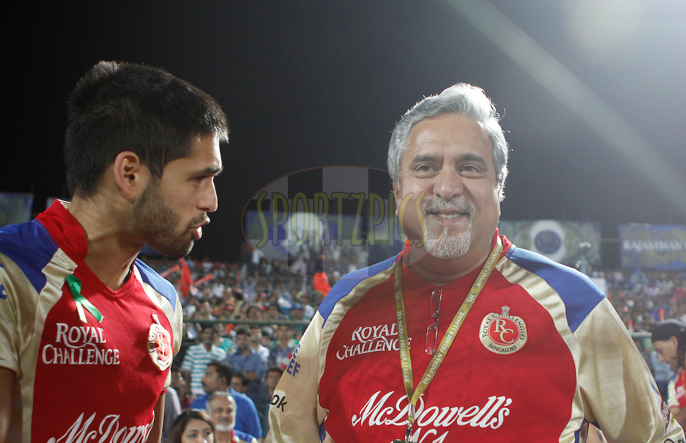 Royal Challengers Bangalore onwer Vijay Mallya and Siddharth Mallya during match 30 of the the Indian Premier League ( IPL) 2012  between The Rajasthan Royals and the Royal Challengers Bangalore held at the Sawai Mansingh Stadium in Jaipur on the 23rd April 2012..Photo by Pankaj Nangia/IPL/SPORTZPICS