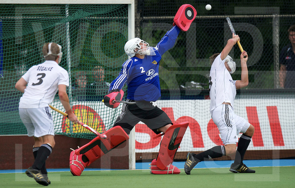 UTRECHT - VOLVO EUROHOCKEY CHAMPIONSHIPS 2011.Belgium vs Germany.Foto:Save by German Goalie Mark Appel..FFU Press Agency  COPYRIGHT FRANK UIJLENBROEK..