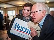 30 DECEMBER 2019 - WEST DES MOINES, IOWA: US Senator BERNIE SANDERS (Ind-VT) poses for a selfie after speaking at a campaign brunch at NOAH's Event Center in West Des Moines, a suburb of Des Moines. Sen. Sanders is in Iowa campaigning to be the Democratic presidential nominee in 2020. Iowa hosts the first selection event of the presidential election cycle. The Iowa Caucuses are Feb. 3, 2020.     PHOTO BY JACK KURTZ