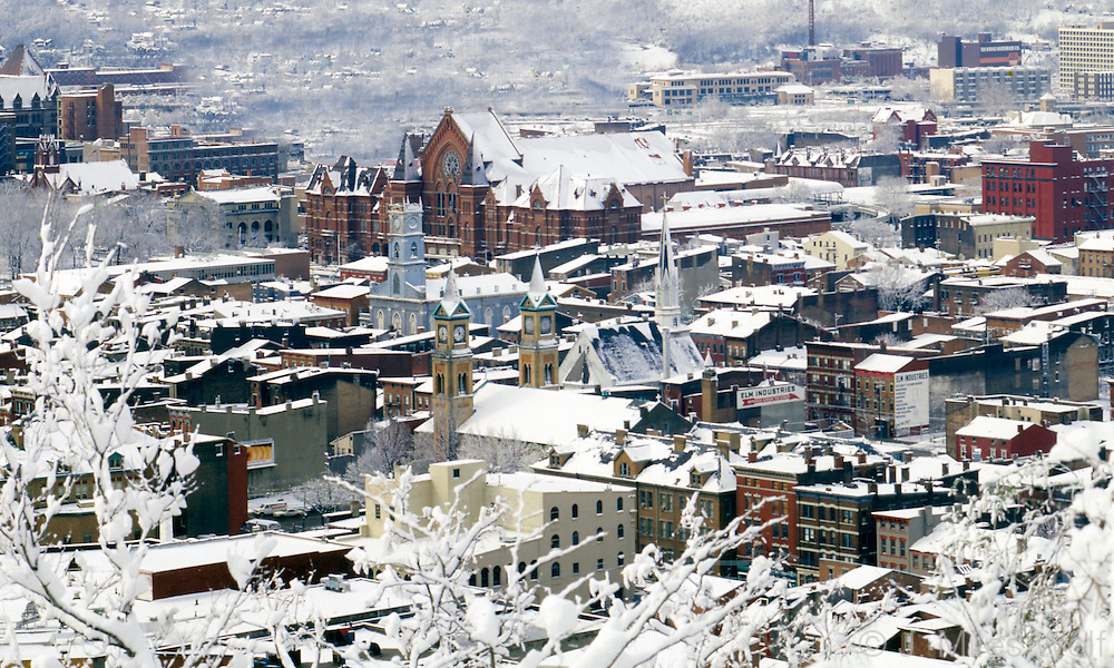 Snowy Over the Rhine aerial photograph with Music Hall