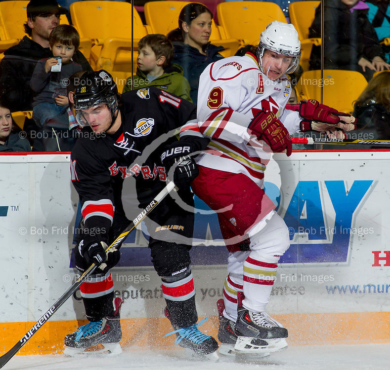 22 November 2014:   Jake Larson (9) of the Chiefs during a game between the Chilliwack Chiefs and the Coquitlam Express at Prospera Centre, Chilliwack, BC.    ****(Photo by Bob Frid - All Rights Reserved 2014): mobile: 778-834-2455 : email: bob.frid@shaw.ca ****