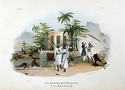 The Palanquin Porters. Hand-coloured lithograph from 'L'Inde francaise', Paris, 1828. Porters resting  while European passenger interrupts journey by  a small temple. Transport India.