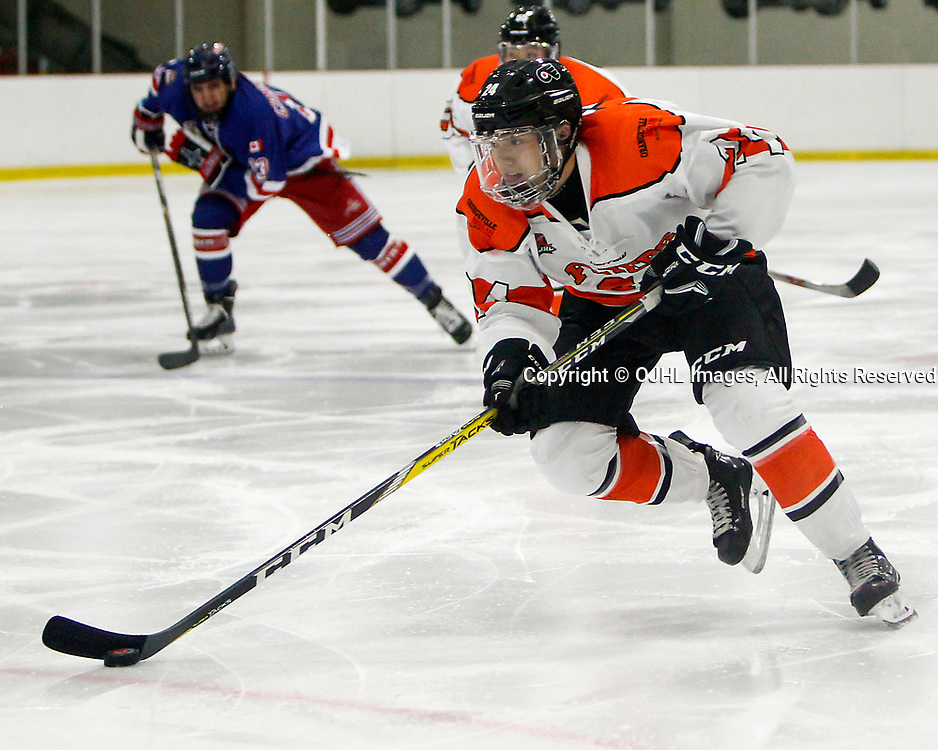 ORANGEVILLE, ON  - SEP 30,  2017: Ontario Junior Hockey League game between the North York Rangers and the Orangeville Flyers, Michael Hill #24 of the Orangeville Flyers skates with the puck during the second period.<br /> (Photo by Brian Watts / OJHL Images)