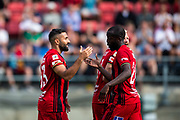 OSTERSUND, SWEDEN - JULY 21: Saman Ghoddos of Ostersunds FK and Ronald Mukilbi of Ostersunds FK 'celebrates after scoring during the Allsvenskan match between Ostersunds FK and Trelleborgs FF on July 21 at Jamtkraft Arena, 2018 in Gothenburg, Sweden. Photo by Johan Axelsson/Ombrello ***BETALBILD***