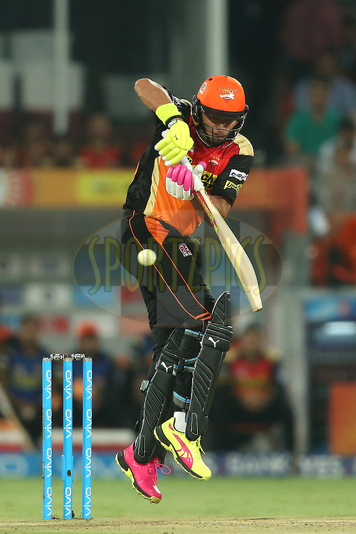 Yuvraj Singh of Sunrisers Hyderabad plays a delivery to the leg side during match 42 of the Vivo IPL 2016 (Indian Premier League) between the Sunrisers Hyderabad and the Delhi Daredevils held at the Rajiv Gandhi Intl. Cricket Stadium, Hyderabad on the 12th May 2016<br /> <br /> Photo by Shaun Roy / IPL/ SPORTZPICS