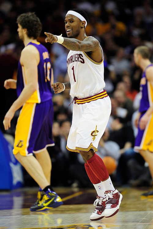 Feb. 16, 2011; Cleveland, OH, USA; Cleveland Cavaliers point guard Daniel Gibson (1) celebrates after scoring against the Cleveland Cavaliers during the fourth quarter at Quicken Loans Arena. The Cavaliers beat the Lakers 104-99. Mandatory Credit: Jason Miller-US PRESSWIRE