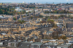 View looking over rooftops of Georgian Houses in  the New Town in Edinburgh, Scotland, UK