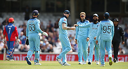 England's Ben Stokes (centre) celebrates after catching Afghanistan's Rashid Khan in the slips during the ICC Cricket World Cup Warm up match at The Oval, London.
