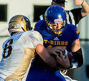 26 August 2016:  Evan Foster (6) of the Bisons sacks Michael O'Connor of the Thunderbirds in the Vancouver Island Thunder Bowl.  Action during a men's CIS exhibition Football game between the University of British Columbia Thunderbirds and the visiting University of Manitoba Bisons at Westhills Stadium in Langford, BC, Canada. Final Score: Manitoba 50 UBC 7 ****(Photo by Bob Frid/UBC Athletics  2016 - All Rights Reserved****)