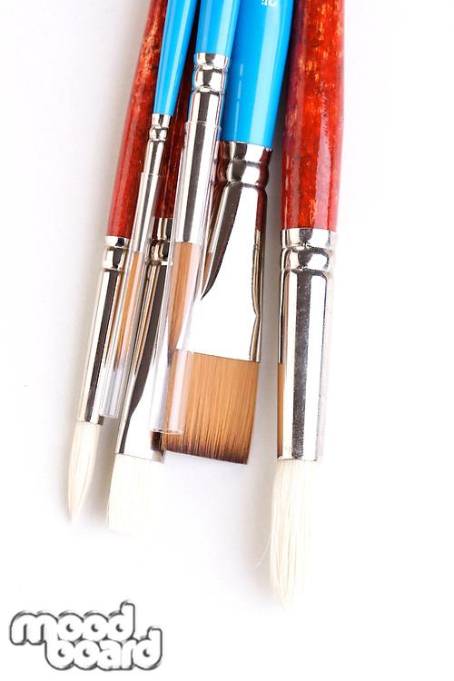 Paint brushes on white background