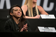 DALLAS, TX - MAY 12:  Claudia Gadelha speaks to the media during the UFC Summer Kickoff Press Conference at the American Airlines Center on May 12, 2017 in Dallas, Texas. (Photo by Cooper Neill/Zuffa LLC/Zuffa LLC via Getty Images) ***Local Caption***  Claudia Gadelha
