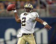 New Orleans quarterback Aaron Brooks during game action against St. Louis at the Edward Jones Dome in St. Louis, Missouri, October 23, 2005.  The Rams beat the Saints 28-17.