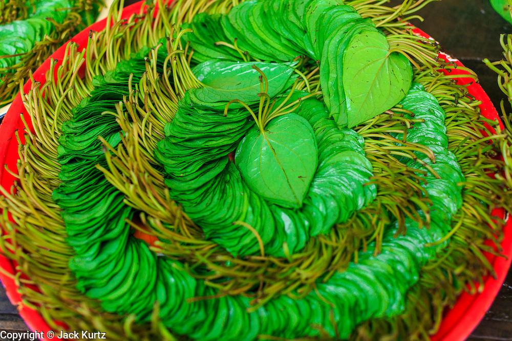 Betel leaf for sale in Pantanaw, a town in the Irrawaddy Delta (or Ayeyarwady Delta) in Myanmar. The region is Myanmar's largest rice producer, so its infrastructure of road transportation has been greatly developed during the 1990s and 2000s. Two thirds of the total arable land is under rice cultivation with a yield of about 2,000-2,500 kg per hectare. FIshing and aquaculture are also important economically. Because of the number of rivers and canals that crisscross the Delta, steamship service is widely available.