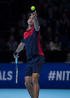 Tennis - 2019 Nitto ATP Finals at The O2 - Day Seven<br /> <br /> Doubles Semi Finals : Pierre-Hugues Herbert (FRA) & Nicolas Mahut (FRA) Vs. Lukasz Kubot (POL) & Marcelo Melo (BRA)<br /> <br /> Pierre-Hugues Herbert (FRA) serving for the match<br /> <br /> <br /> COLORSPORT/DANIEL BEARHAM